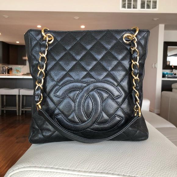 8e981c9fd CHANEL Handbags - Chanel Black Caviar Petite Shopping Tote w/gold